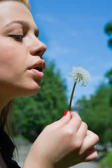Free Girl And Dandelion Stock Photo - 5405230