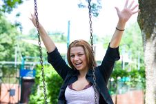 Free Portrait Of The Young Girl On A Swing Royalty Free Stock Photo - 5405315