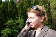 Woman Making A Phone Call Stock Photos