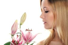 Woman With A Flower Royalty Free Stock Photography