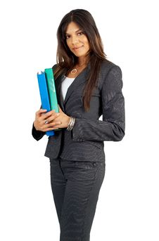 Free Beautiful Brunette Businesswoman Holding Files Stock Photography - 5406312