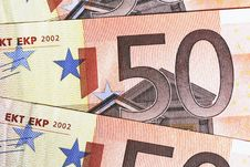 Money - 50 Euro Notes Detail Royalty Free Stock Photo