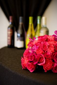 Free Wine And Flowers Stock Image - 5407901