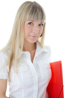Free Business Woman With Folder For Document Royalty Free Stock Image - 5408086
