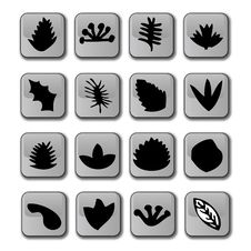 Glossy Leaf Icons Stock Photo