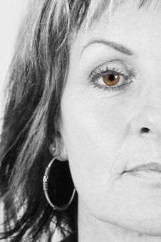 Free Woman Half Face_BW_eye_colored Stock Photography - 5409552