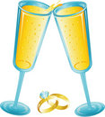 Free Champagne Toast With Wedding Rings Stock Photos - 5412363