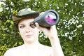 Free Woman With Binocular Royalty Free Stock Image - 5413406