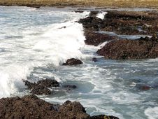 Rocks And White Water Royalty Free Stock Photo