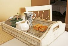 Free Tray With Bran Rusks And Coffee Stock Image - 5410871
