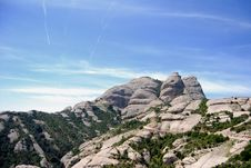 Landscape Of Montserrat Mountain, Catalonia Spain Stock Photos