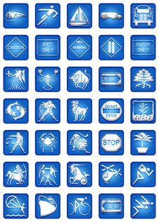Blue Square Icons Set Part4 Stock Images