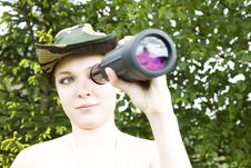 Free Woman With Binocular Royalty Free Stock Image - 5413406