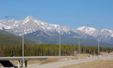Mountain And Highway Stock Photography