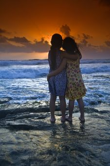 Girls Beach Sunset Stock Photo