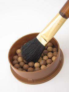 Makeup Brush And Powder Ball Stock Photos