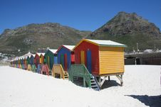 Free Bathing Boxes On Muizenberg Beach Royalty Free Stock Image - 5415466