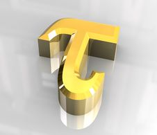 Free Tau Symbol In Gold (3d) Stock Photos - 5415873
