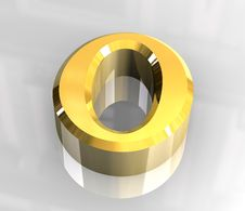 Free Omicron Symbol In Gold (3d) Stock Images - 5415894
