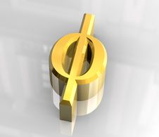 Free Phi Symbol In Gold (3d) Royalty Free Stock Photography - 5415907