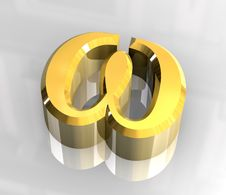 Free Omega Symbol In Gold (3d) Royalty Free Stock Image - 5415936