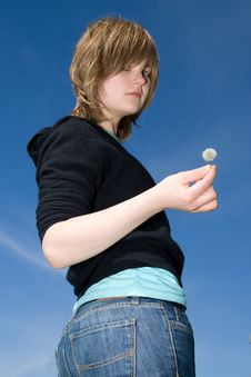 The Young Girl With A Dandelion Stock Images