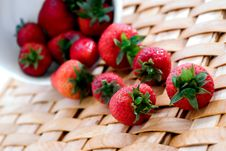 Free Fresh Strawberrys On A Woven Platter Royalty Free Stock Photography - 5417417