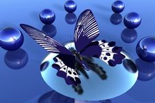Butterfly And Blue Balls Stock Images