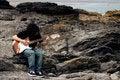 Free Teenage Guitar Player On Beach Royalty Free Stock Photo - 5422135