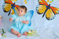Free Baby Girl With Butterfly Wings Stock Photography - 5426382