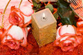 Free Golden Candle With Roses Stock Photo - 5429430