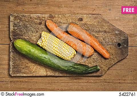 Free Carrots, Corn And Cucumber. Stock Image - 5422761