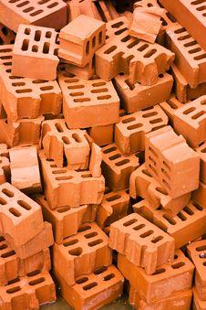Heap Of Red Bricks Stock Photo