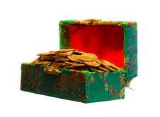 Free Gold Coins In Box Stock Images - 5420184