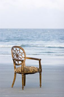 Free Ornate Chair On The Beach Stock Photo - 5421600