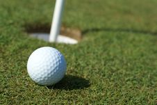 Free Golfball In Front Of The Hole Royalty Free Stock Photo - 5422125