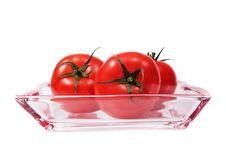 Free Tomatoes On A Glass Plate. Royalty Free Stock Photography - 5422307