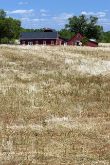 Red Barn And Field Stock Photography
