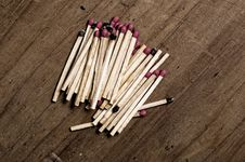 Matches On Old Table. Royalty Free Stock Photo