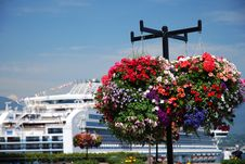 Cruise Ship And Flowers Stock Photos