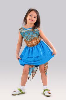 Free Little Girl In Blue Dress Stock Image - 5425331