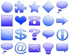 Free Darkblue Tones Glossy Icon Set 101 Royalty Free Stock Images - 5425479