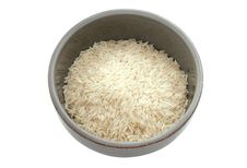 Bowl Of Rice Isolated With Path Stock Images