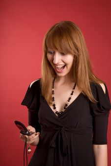 Free Surprised Girl With Mobile Phone Royalty Free Stock Photo - 5427685