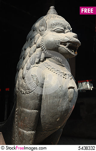Free Statue Of Lion On The Bhaktapur S Main Square Stock Photography - 5438332