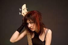 Free Sensual Girl With Bass Guitar Stock Images - 5430674