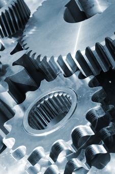 Free Blue Titanium And Steel Gears Royalty Free Stock Image - 5430676
