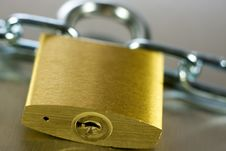 Free Close-up Of Padlock With Chain Royalty Free Stock Image - 5431416