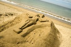 Free Christ Sculpted In Sand Royalty Free Stock Photos - 5431598