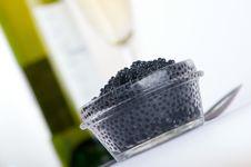 Free Black Caviar With Wine Stock Photos - 5431853